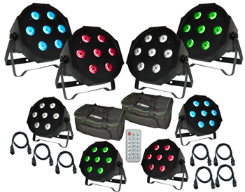 8 x RGBW LED Quad Par Pack, IR R