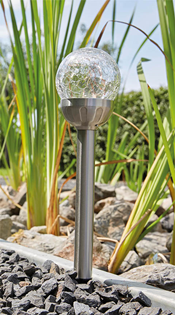 LED Solar Spike Light with Cracked Gla