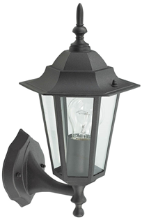 Black Lantern Wall Light 240V E27