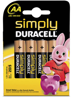 Simply Duracell Alkaline Batteries 4 Pac