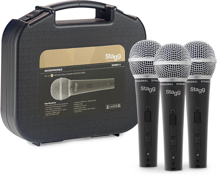 Stagg 3 Piece Microphone Pack Inc. Cab