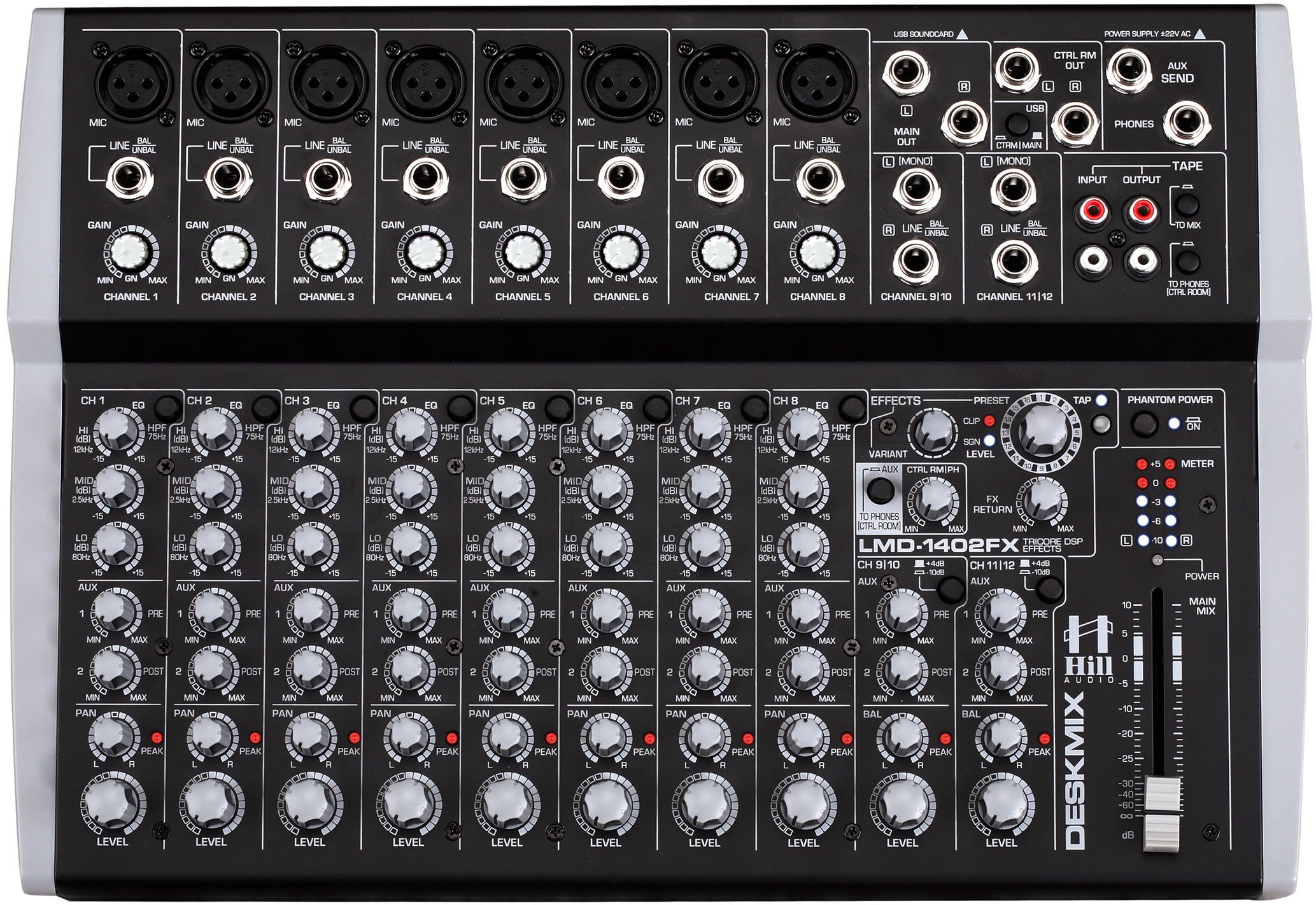 Hill Audio LMD1402FX 10 Channel Stage Mixer