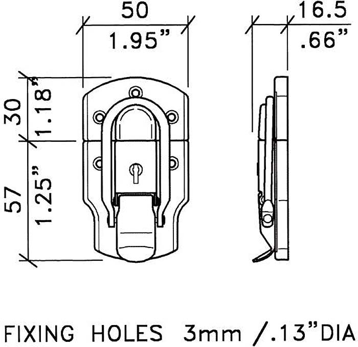 HEAVY DRAW BOLT WITH LOCK & SCREWS