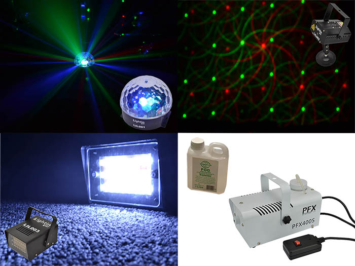 Partypack with Strobe, Disco ball, L