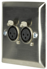 Steel Wallplate with Twin XLR Sockets