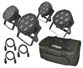 Four RGB LED Tri Par Pack, Bag and Cables