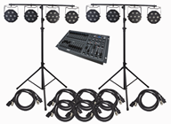 RGB Stage Lighting System, 8 Lights, Stands and DMX Controller