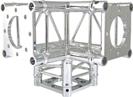 CHROME DECO TRUSS 3-WAY CORNER