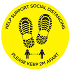 Help Support Social Distance Floor Sticker 40cm Diameter