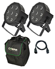 RGB LED 2 Tri Par Pack, Bag and Cables