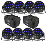 8 x Maxipar RGB LED Par Cans with