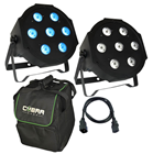 RGBW LED 2 Quad Par Pack, Bag and%