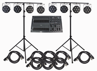 RGBW Stage Lighting System, 8 Lights, Stands and DMX Controller